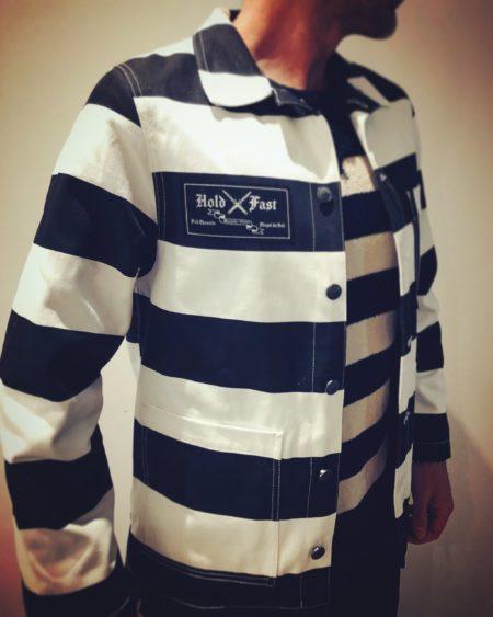 veste-bagnard-denim-holdfast-rayée-noir-blanc