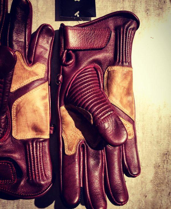 Gants-moto-hiver-vintage-Cuir-Rouge-1971-le mans-soufflets-pouce